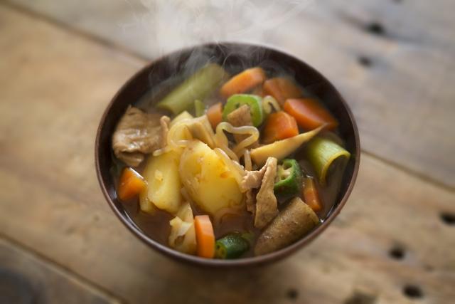 鍋の残り汁で豚汁